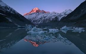 Montañas, estanque, reflexión, superior