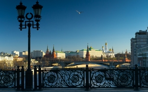 Moscú, Rusia, Puente patriarcal, Río de Moscú, Kremlin, río, puente, linterna