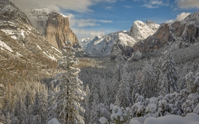 Yosemite National Park, California, Sierra Nevada, Yosemite National Park, Yosemite, California, Sierra Nevada, Mountains, valley, forest, winter, snow