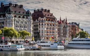Norrmalm, Stoccolma, Svezia, Esplanade e Diplomat Hotel, Norrmalm, Stoccolma, Svezia, terrapieno, porto, ormeggio, navi, costruzione