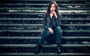 Denise Schultheis, взгляд, стиль, лестница, ступени