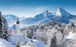 Berchtesgaden National Park, Pilgrimage Church of Maria Gern, Berchtesgaden, Bavaria, Germany, Bavarian Alps, Mount Watzmann, Национальный парк Берхтесгаден, Паломническая церковь Мария Герн, Берхтесгаден, Бавария, Германия
