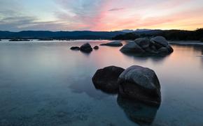 staw, kamienie, niebo, wieczór, woda
