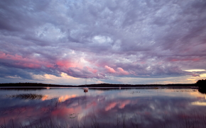 водоем, облака, отражение, лодка