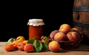 still life, food, fruit, peaches, apricots, Jam, BANK, black background