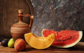 натюрморт, арбуз, дыня, кувшин, фрукты, бочонок