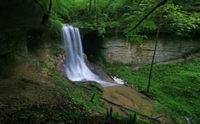 лес, деревья, река, водопад, скалы, природа
