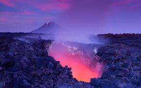 Gateway to Hell - glowing lava, active volcano Tolbachik, Kamchatka, Russia