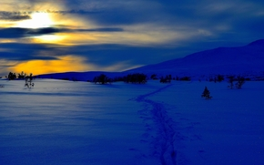 winter, sunset, snow, drifts, Mountains, landscape
