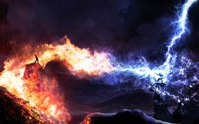 Montañas, volcán, lava