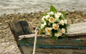 цветы, букет, композиция, лодка, розы