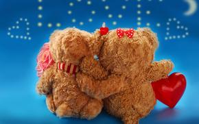 Valentine, Teddy Bears, Bears, couple, hearts, rose, flower, love