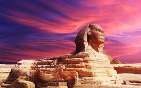 Egyptian pyramids, Egypt, sunset