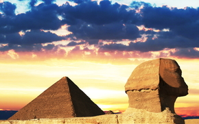 Egyptian pyramids, Egypt, sunset