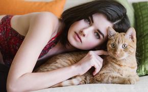 dziewczyna, twarz, widok, kot, Rudowłosy, nastrój