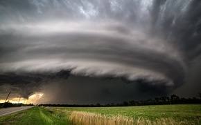 field, road, phenomenon, CLOUDS, storm, vortex