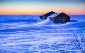 закат, зима, дома, снег, сугробы, пейзаж