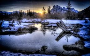 tramonto, Montagne, alberi, lago, paesaggio