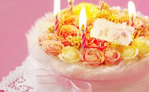 праздники, праздник, торт, цветы, свечи