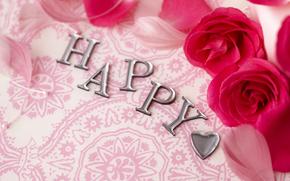 férias, férias, Flores, Rosas, coração, inscrição, Namorados