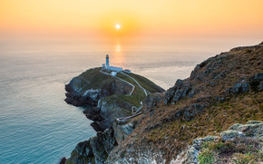South Stack Lighthouse, Anglesey, Wales, England, sunset, landscape