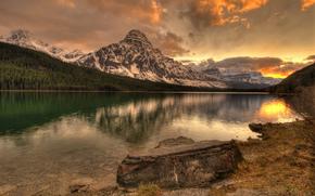 puesta del sol, lago, Montañas, árboles, paisaje