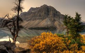 sunset, lake, Mountains, trees, landscape