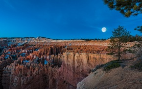 Bryce canyon, National Park, Bryce Canyon, sunset, moon, Mountains, Rocks, landscape