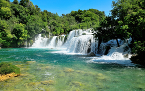 Croatian, Nacionalni park Krka, river, waterfall, trees, landscape