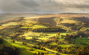 valley, Hathersage, United Kingdom, England, field, Hills, trees, DMA, landscape