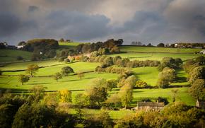 dolina, Hathersage, Zjednoczone Królestwo, Anglia, pole, Hills, drzew, DMA, krajobraz