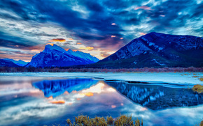 Banff National Park, lake, Mountains, sunset, landscape