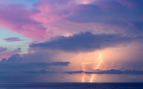 sunset, sea, lightning, clouds, landscape