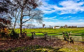 Эдвард Макферсон фермы в Геттисберге, поле, деревья, забор, пейзаж