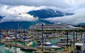 Andocat în Skagway, Alaska, port, navă, Iaht, Barcă
