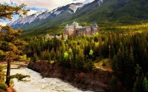 Banff Springs Hotel, Banff National Park, Banff, Alberta, Canada, отель Банф Спрингс, Национальный парк Банф, Банф, Альберта, Канада, отель, здание, лес, деревья