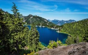 lago, alberi, Montagne, paesaggio