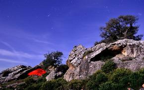 ночь, небо, деревья, камни