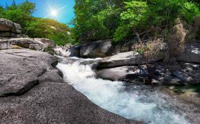 waterfall, summer, stones, trees
