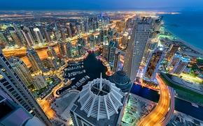Dubai, UAE, Dubai, UAE, city nightlife, sea, coast, building, Skyscrapers, panorama