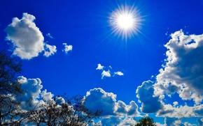 空, 雲, 太陽, 自然