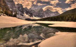 inverno, Montagne, lago, paesaggio