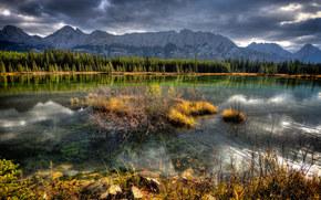 Montagne, lago, autunno, paesaggio