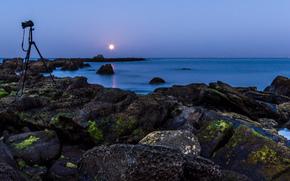 mar, pedras, costa, câmera, noite