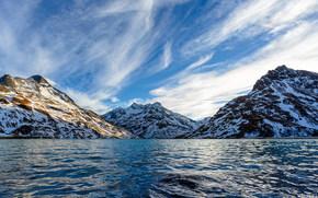 горы, море, небо, снег, вершины