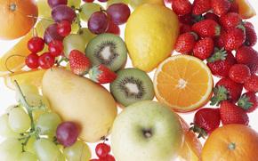 фрукты, ягоды, ассорти, еда