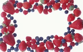 ягоды, черника, малина, клубника, еда