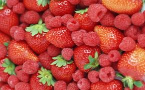 ягоды, малина, клубника, еда