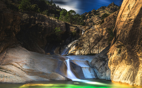 водопад, скалы, горы