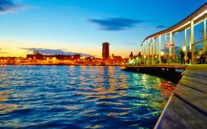 city, pond, barcelona, sky, bridge, lights, evening